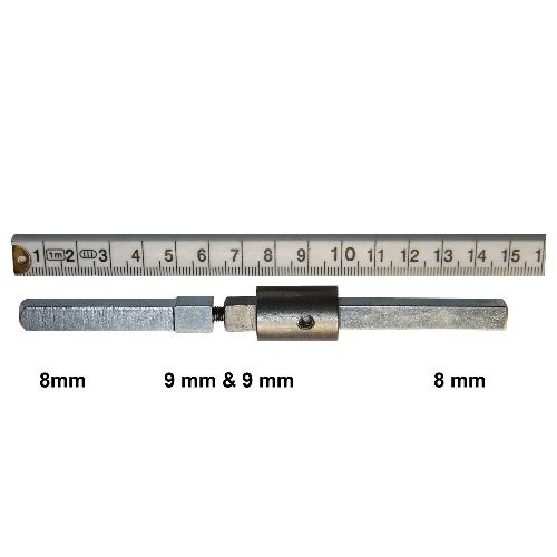 IW56 - Gedeelde stift adapter dubbelzijdig van 9 naar 8 mm met verloop stift 50 mm